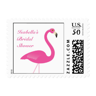 Pink Flamingo Bridal Shower Stamp