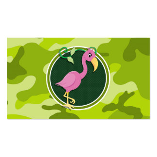 Pink Flamingo; bright green camo, camouflage Business Card