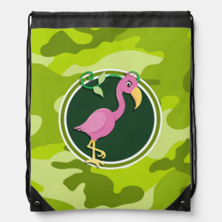 Pink Flamingo; bright green camo, camouflage Drawstring Backpack
