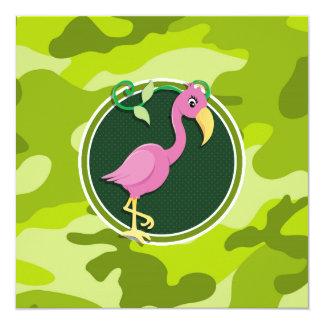 Pink Flamingo; bright green camo, camouflage Invitation