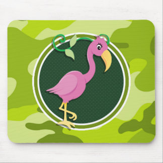 Pink Flamingo; bright green camo, camouflage Mouse Pad