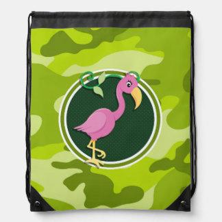 Pink Flamingo; bright green camo, camouflage Drawstring Bag