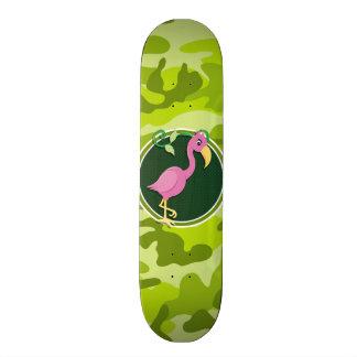 Pink Flamingo; bright green camo, camouflage Skate Board Deck