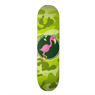 Pink Flamingo; bright green camo, camouflage Skateboard Deck