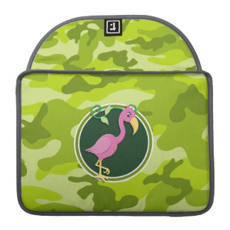 Pink Flamingo; bright green camo, camouflage Sleeve For MacBook Pro
