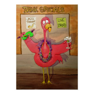 Pink Flamingo Celebrate Party Whimsical Bird Poster