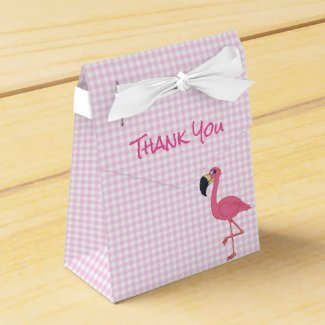 Pink Flamingo & Checks Tent Favor Box