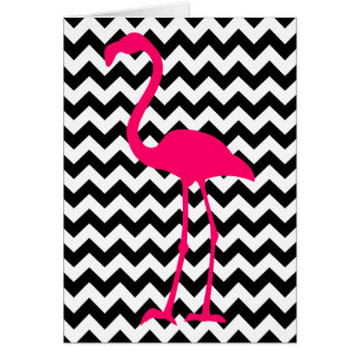 Pink Flamingo Chevron Happy Birthday Card