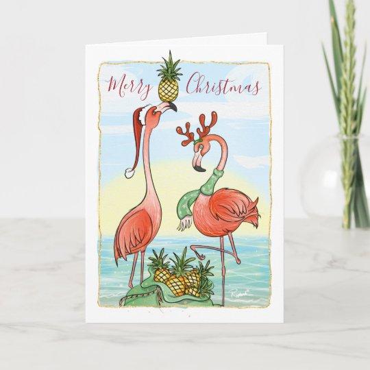Flamingo Christmas Cards.Pink Flamingo Christmas Cards Tropical Pineapple