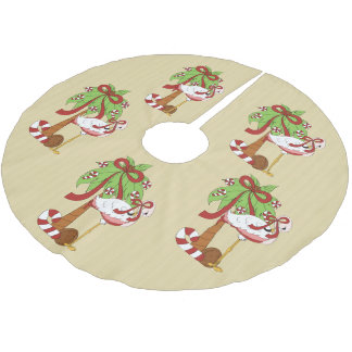Pink Flamingo Christmas Holiday tree skirt