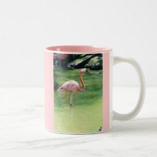 Pink Flamingo Coffee Cup Two-Tone Coffee Mug