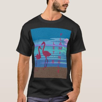 Pink Flamingo Couple at Sunset T-Shirt