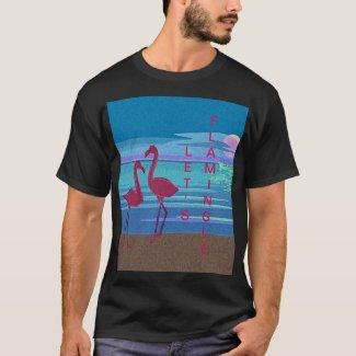 Pink Flamingo Couple at Sunset T-Shirt