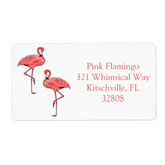Pink Flamingo Couple Custom Labels