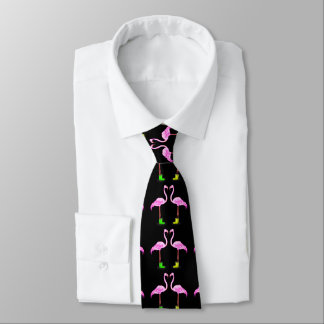 Pink Flamingo Couple Making A Heart Shape Neck Tie