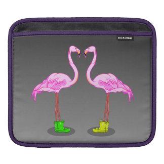 Pink Flamingo Couple Making A Heart Shape Sleeve For iPads