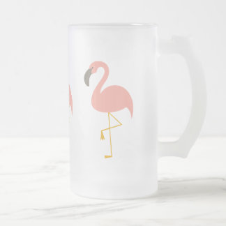 Pink Flamingo Cup 16 Oz Frosted Glass Beer Mug