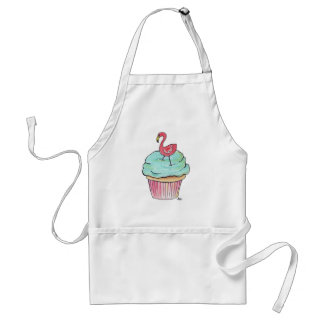 Pink Flamingo Cupcake Retro Dessert! Adult Apron