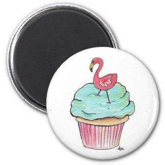 Pink Flamingo Cupcake Retro Dessert Magnet