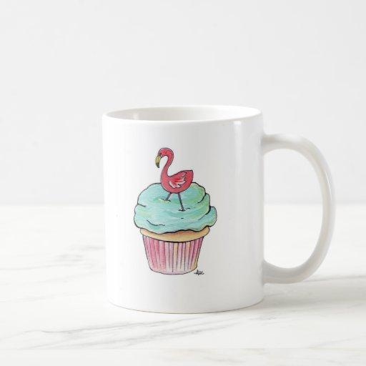 Pink Flamingo Cupcake Retro Dessert! Classic White Coffee Mug