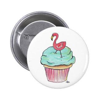 Pink Flamingo Cupcake Retro Dessert! Pinback Button
