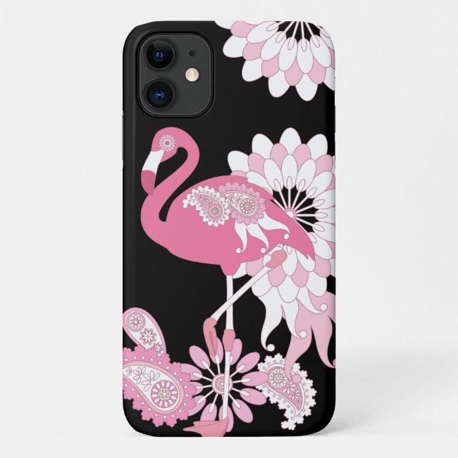 Pink Flamingo Cute Modern Black Custom