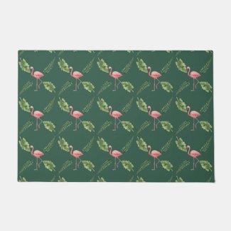 Pink Flamingo Dark Green Floormat Doormat