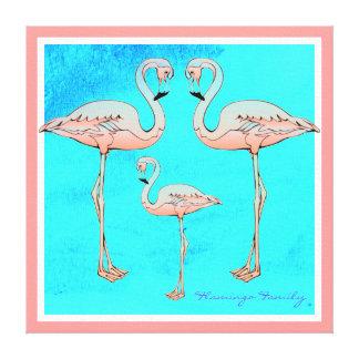 Pink Flamingo Family Modern Abstact Aqua Blue Sky Canvas Print