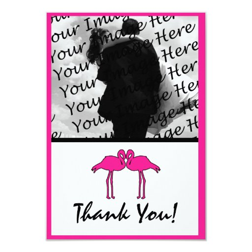 "Pink Flamingo Flat Photo Thank You Cards 3.5"" X 5"" Invitation Card"