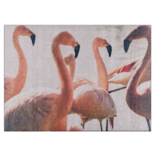 Pink Flamingo Flock, Bird Photography Cutting Board