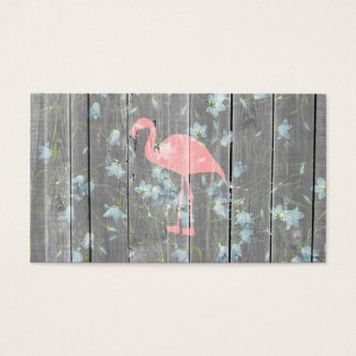 Pink Flamingo Floral Gray Rustic Wood Photo Print Business Card