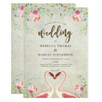 pink flamingo floral modern wedding invitation