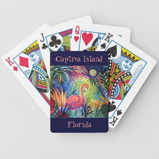 Pink Flamingo Florida art Captiva Island Card Decks