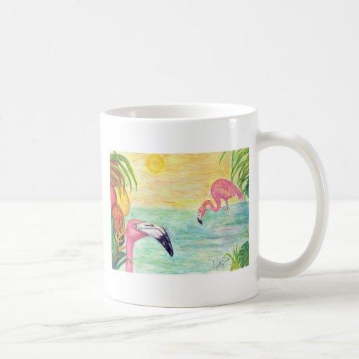 Pink Flamingo Florida Art Coffee Mug