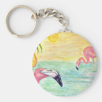 Pink Flamingo Florida Art Keychain