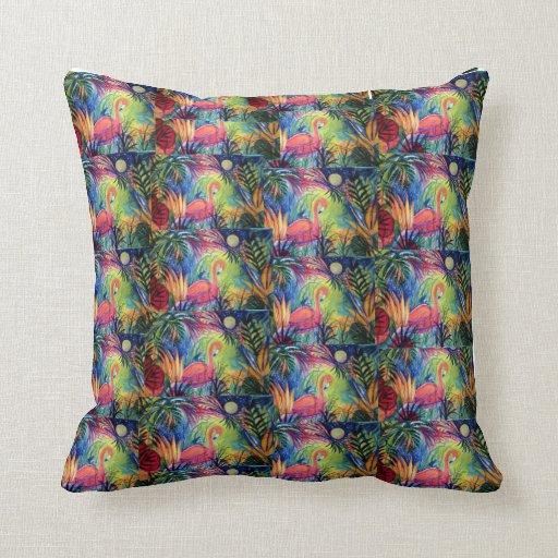 Pink Flamingo Florida Art Pillow