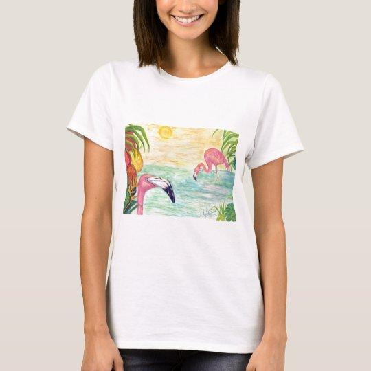 Pink Flamingo Florida Art T-Shirt