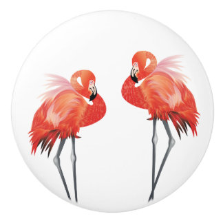 Pink Flamingo Florida Home Decor Ceramic Knob