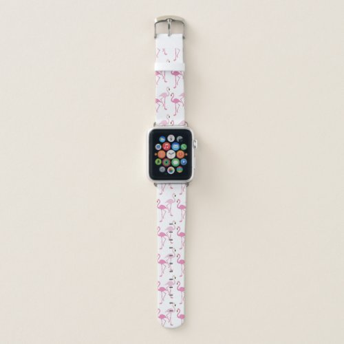 Pink Flamingo Fun Summer Pattern Apple Watch Band
