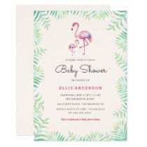 Pink Flamingo Girl Baby Shower Invitation