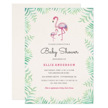 Toddler & Baby themed Pink Flamingo Girl Baby Shower Invitation