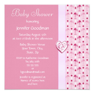 Pink Flamingo Girl Baby Shower Invites