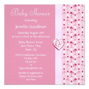 Valentines Themed Pink Flamingo Girl Baby Shower Invites