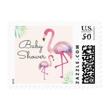 Toddler & Baby themed Pink Flamingo Girl Baby Shower Postage Stamp