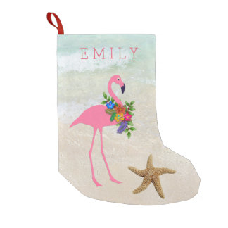 Pink Flamingo Girls Beach Small Christmas Stocking
