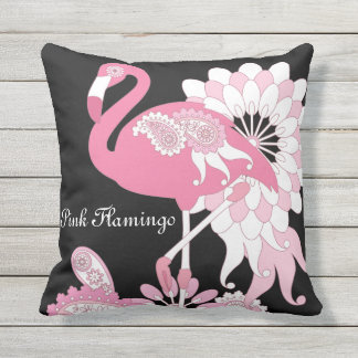 Pink Flamingo Girly Black Personalized Outdoor Throw Pillow