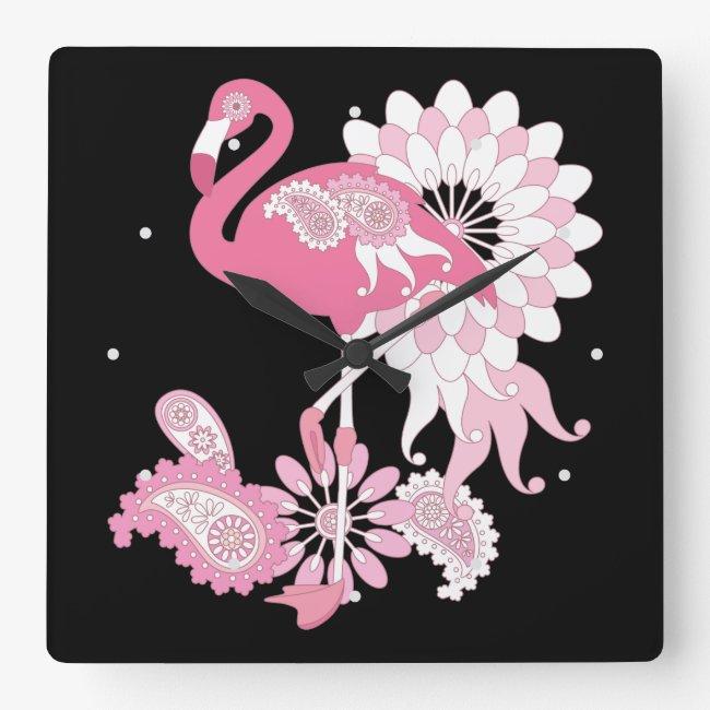 Pink Flamingo Girly Cute Black