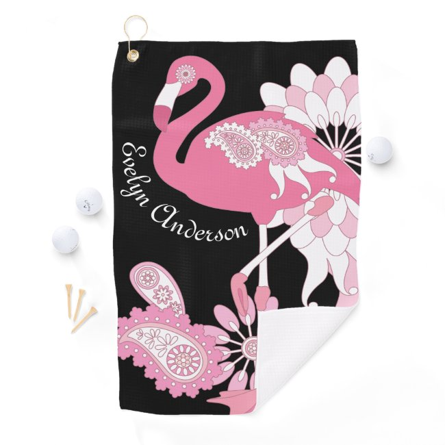 Pink Flamingo Girly Cute Personalized Black