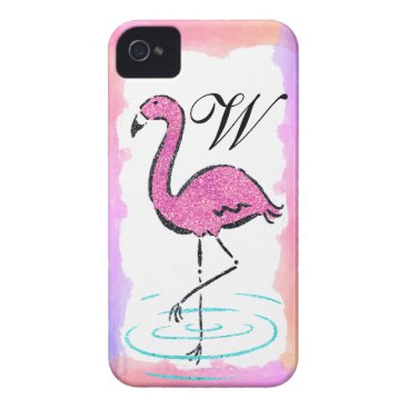 Pink Flamingo Glam Monogrammed Initial Case-Mate iPhone 4 Case