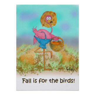 Pink Flamingo Happy Fall Funny Humor Pumpkin Patch Poster